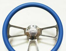 "1969-1994 Impala, Bel Air, Caprice 14"" Billet and Sky Blue Steering Wheel Kit"