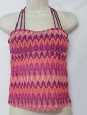 NWT Hula Honey Dream Crochet Tankini Top Wine Color Geometric Print Size Large