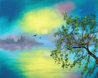 "perfect 36x24 oil painting handpainted on canvas ""bird,tree,landscape"" NO1506"