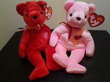 Ty Beanie Babies Kiss-e Smooch-e Bears February 14 TY EXCLUSIVE > Old Style Face