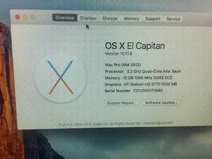 MacPro mid-2012 3.2ghz quad core 12GB 500GB ATI HD5770  a1289 El Capitan OFFICE