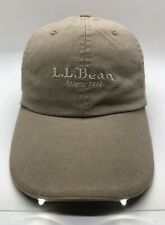 LL Bean  Since 1912 Cap Hat Adult Adjustable With Two Front Lights Cotton Beige