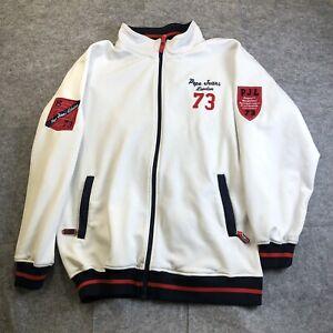 Pepe Jeans UK London XL Varsity Jacket Zip Up White Red Blue 1973