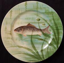 A' / Assiette ancienne Porcelaine de LIMOGES décor Peint-main (POISSON)