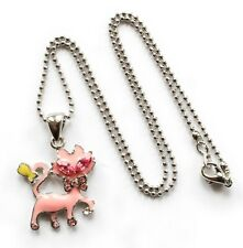 Crystal eye Cat pink silver necklace jewellery job lot NEW IN PACKET x10 RRP £10