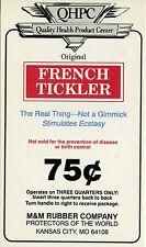 vtg condom machine decal sticker vending NOS French Tickler 75 cent
