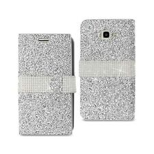 Samsung Galaxy J7 Wallet Case Cover Magnetic Flip Diamond Bling Glitter Silver