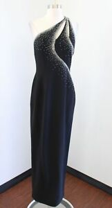 Tiffany Designs Black Sequin Beaded One Shoulder Cutout Evening Formal Dress 10