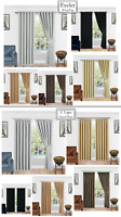 THERMAL BLACKOUT READY MADE CURTAINS PAIR TAPE-PENCIL PLEAT & EYELET RING TOP