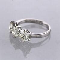 3.0 Diamond Three Stone Engagement Ring 18ct White gold Size M