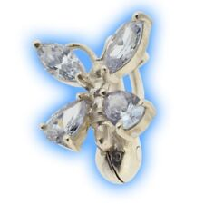 Fake Belly Ring Lilac Butterfly Silver Non Piercing Clip on Navel Jewellery