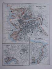 1918 MAP PETROGRAD & ENVIRONS ~ ATHENS PIRAEUS BOSPORUS CONSTANTINOPLE PLAN
