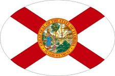 """5"""" Vinyl State of Florida Flag Oval Decal Sticker BUY ONE GET ONE FREE!"""