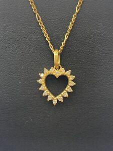 18ct 18k Yellow Gold Open Heart Diamond Pendant TDW 0.32ct. Brand New
