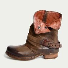 Damen Vintage Stiefeletten Stiefel Ankle Boots Schuhe Blockabsatz Lederstiefel