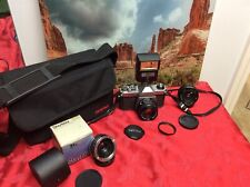 Pentax K1000 35mm SLR Film Camera Kit complete set 3 Lenses, Flash, Bag - Tested