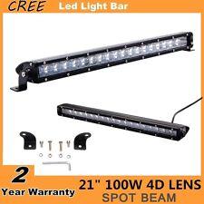 "21"" 100W Single Row CREE Led Light Bar Spot beam For Car SUV Boat ATV 4D Lens"