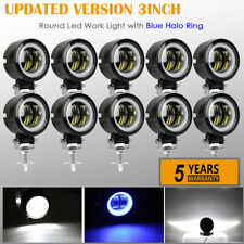 10x 3 Inch Round Offroad LED Work Light Bar Spot Fog Driving Blue Halo DRL ATV