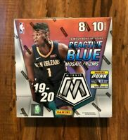 2019-20 Panini Mosaic NBA Mega Box 80 Cards! Reactive Blue Prizm! Zion! Morant!