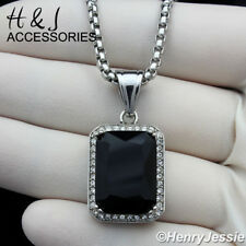 """18-36""""MEN Stainless Steel 3mm Silver Box Link Chain Black Onyx Pendant*P98"""