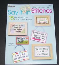 NEEDLECRAFT PLASTIC CANVAS PATTERN LEAFLET BOOK 2003 SAY IT IN STITCHES 843971