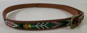 "Brown Native American Design Belt 30"" - 34""  Slim 3/4"" Width Hearts Arrows"