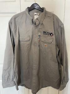NWT Carhartt FR Shirt 3XL Regular FRS160GRY Gray Twill Flame Resistant NFPA 2112