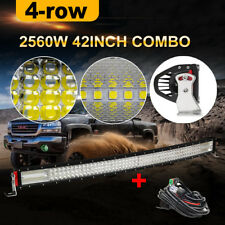 12D 42 Inch 2560W CURVED LED Work Light Bar Flood Spot LED Off road Boat Harness