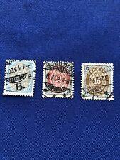 Denmark Stamps(3),Scott41,46,& ;47, 1895,Used,Cat Val: $16 Us, Price: $6 Us (2074)