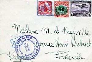 EL SALVADOR: Airmail cover to Belgium 1934.