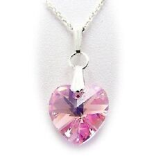 925 Sterling Silver Heart Austrian Crystal PINK RED Necklace Pendant GREAT GIFT