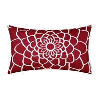 CaliTime Dahlia Floral Outline Cushion Cover Bolster Case Sofa Car Decor 30x50cm