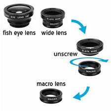 Grand Angle Macro black fish eye Photo Lens Clip Téléphone Portable Caméra Set Kit UK
