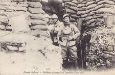 Soldats Français à l'Entrée d'un Abri Front Italien France Guerre 1914-18 CPA