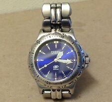 Fossil Blue Face Unisex Diver Watch silver tone Metal AM-3175 luminous WORKING