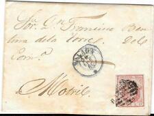 España. Carta circulada con sello de 4 cuartos papel grueso azulado. Edifil 33A