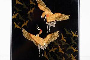 Vintage Japanese writing Calligraphy box Black Cranes used Tsuru