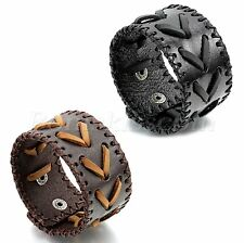 Men's Punk Rock Wide Leather Bracelet Strap Braided Adjustable Cool Bangle Cuff