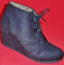 Women's SODA REX Black Suede Wedge Casual Dress Lace-up Booties Dress Shoes NEW