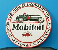 VINTAGE MOBIL MOBILOIL RACE CAR 11 3/4 METAL GARGOYLE PORCELAIN GAS PUMP SIGN
