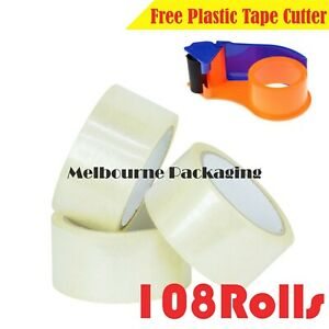 108x Packing Tape Packaging Sticky Sealing Tapes Heavy Duty 75M 48mm + Cutter