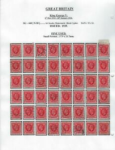GREAT BRITAIN - SG440 - 1d KING GEORGE V RED SPECIALIZED COLLECTION 192 STAMPS