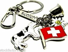 Rare! Collectible Swatch Watch Stainless Steel Keychain Swiss Charms Elements