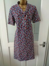 "Vintage Crimplene Red, White & Blue Mod Dress. Size 12 (40"" Bust)"