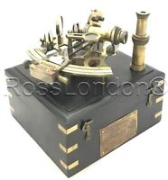 Antique Brass Navigation Sextant in Wooden Box & One extra Telescope- J.Scott