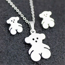 Lovely Bear Stainless Steel Earring Necklace Set Charm Jewelry Gold/Silver