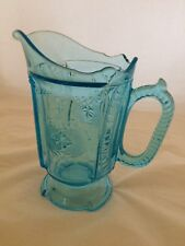 Pressed Glass Blue Pitcher Victorian Medallion AKA Heart and Spades Sapphire