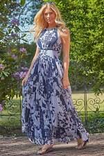 Roman Originals Women Vintage Boho Patchwork Floral Halterneck Maxi Dress