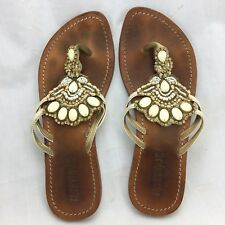 Mystique Flip Flop Thong Leather Sandals Womens Size 6 Stones Embellished