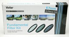 Vivitar Two 58 & 67mm Fundamental Filter Kits: UV, CPL & ND8. Wallets New A Must